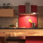 Küche mit roten Akzenten